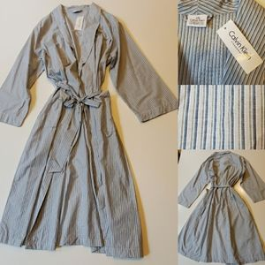 NWT L / XL | CALVIN KLEIN | COTTON STRIPED ROBE